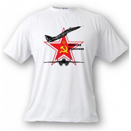 T-shirt avion de combat - MiG-29 Fulcrum - version couleur, White