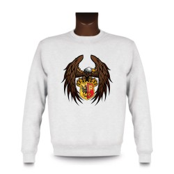 Men's Sweatshirt - Eagle and Geneva coat of arms, White
