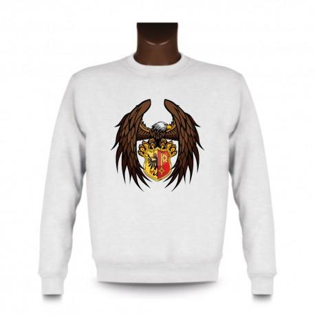Men's Sweatshirt - Eagle and Geneva coat of arms, White