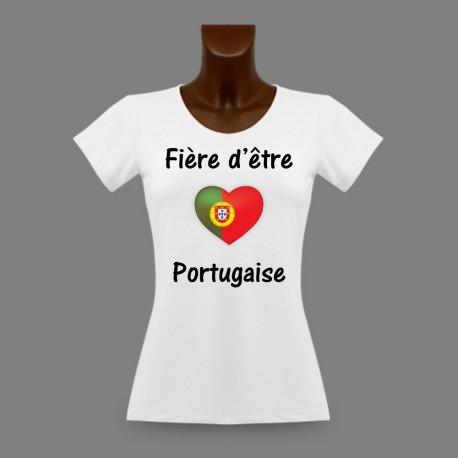 Women's slinky T-Shirt - Fière d'être Portugaise - Portuguese heart