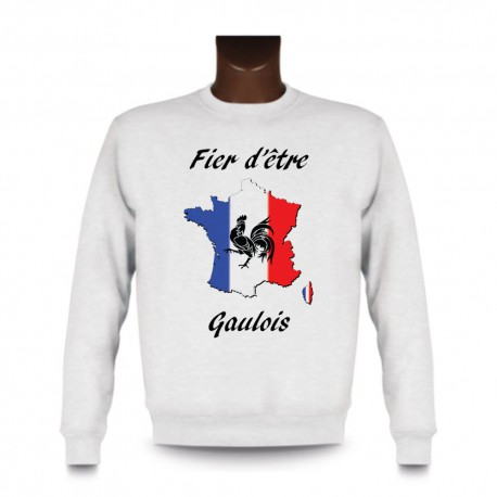 Sweat homme - Fier d'être Gaulois - coq Gaulois, White