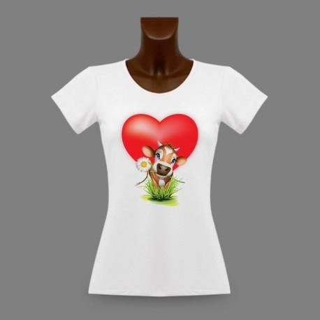 T-shirt slim dame - Vachette amoureuse