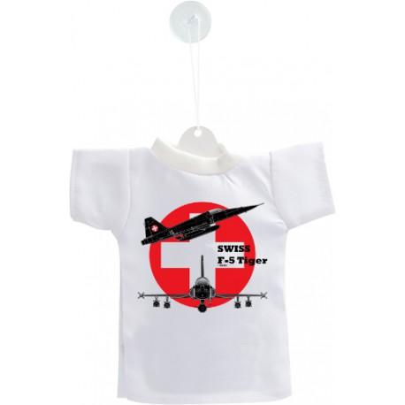 Mini T-shirt - aereo da caccia - Swiss F-5 Tiger - versione colore, per automobile