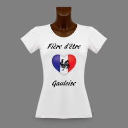 Women's slinky T-Shirt - Fière d'être Gauloise - French Heart and Gallic rooster