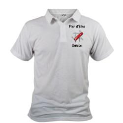 Uomo Polo Shirt - Fier d'être Suisse - coltellino svizzero, Davanti