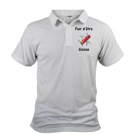 Men's Polo Shirt - Fier d'être Suisse - Swiss Army Knife, Front