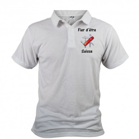 Polo shirt homme - Fier d'être Suisse - couteau militaire suisse, Devant
