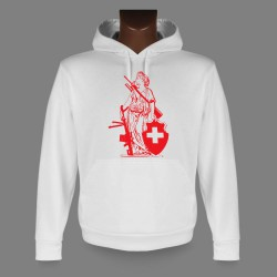 Sweat bianco a cappuccio - New Signora Helvetia - RED Edition