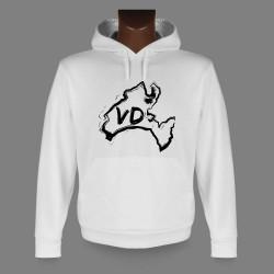 Sweatshirt blanc à capuche - Frontières au pinceau Vaudois
