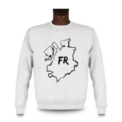 Uomo Sweatshirt -  Fribourg confini pennello e lettere FR, White