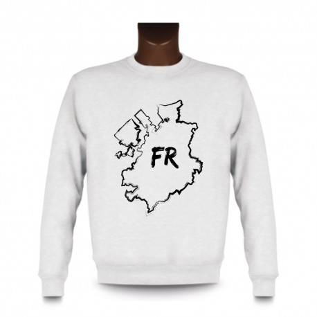 Men's Sweatshirt - Fribourg brush borders and FR letters, White