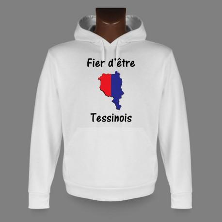 Sweatshirt blanc à capuche - Fier d'être Tessinois