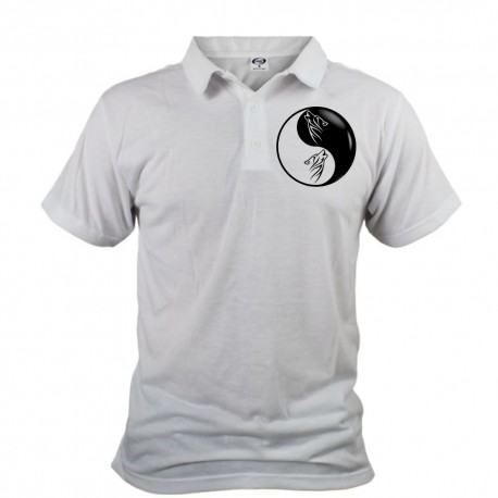 Men's Polo Shirt - Tribal Wolf Head, Front
