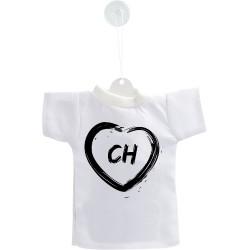 Mini T-Shirt Suisse - Coeur CH - pour votre voiture