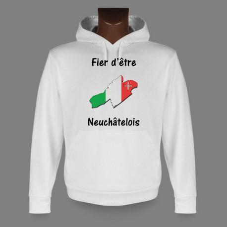 Sweatshirt blanc à capuche - Fier d'être Neuchâtelois