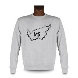 Men's Sweatshirt - Valais brush borders and VS letters, Ash Heater