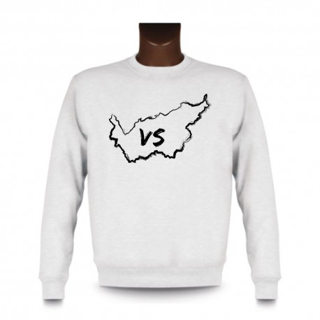 Men's Sweatshirt - Valais brush borders and VS letters, White