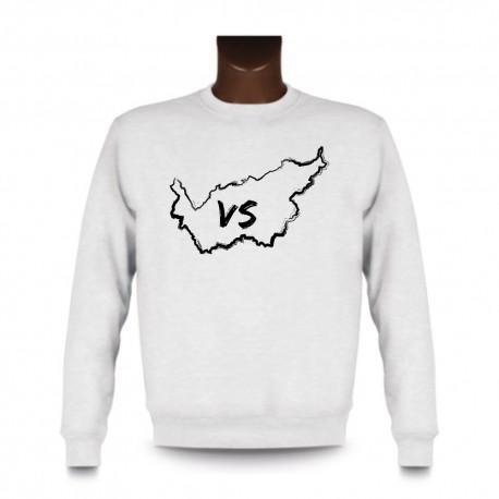 Uomo Sweatshirt - Vallese confini pennello e lettere VS, White