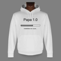 Uomo Sweat bianco a cappuccio - Papa 1.0
