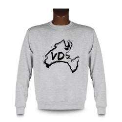 Men's Sweatshirt - Vaud brush borders and VD letters, Ash Heater
