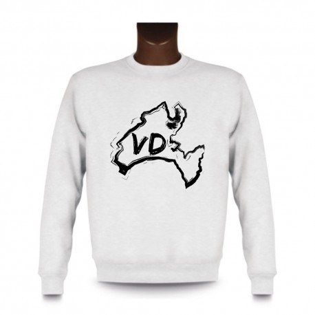 Men's Sweatshirt - Vaud brush borders and VD letters, White