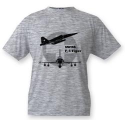 Kampfflugzeug Kinder T-shirt - Swiss F-5 Tiger, Ash Heater