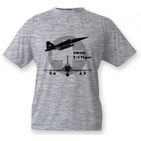 Fighter Aircraft Kids T-shirt - Swiss F-5 Tiger, Ash Heater