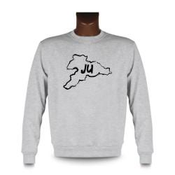 Men's Sweatshirt - Jura brush borders and JU letters, Ash Heater