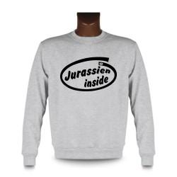 Herren Funny Sweatshirt - Jurassien inside, Ash Heater