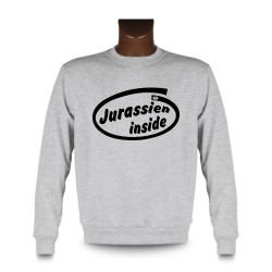 Men's Funny Sweatshirt -  Jurassien inside, Ash Heater