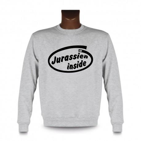 Men's Funny Sweatshirt - Jurassien inside, Ash Heater