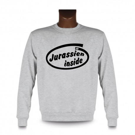 Uomo Funny Sweatshirt - Jurassien inside, Ash Heater