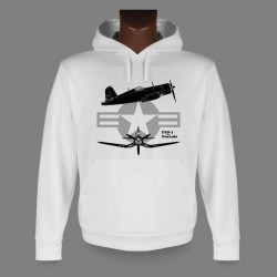 Women's or Men's Hooded Fighter Aircraft Sweatshirt - F4U-1 Corsair