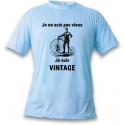 Men's Funny T-Shirt - Vintage Bicycle, Blizzard Blue