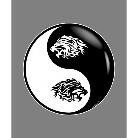 Sticker - Yin-Yang - Tribal Lion Head, for car, notebook or smartphone