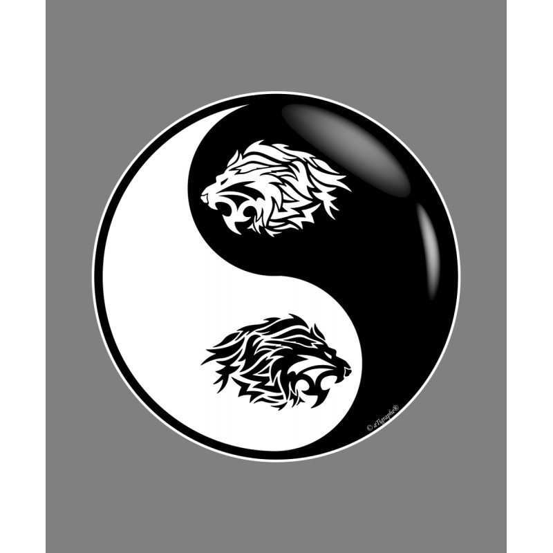 Abstract Lion With Yin Yang: Tête De Lion Tribal