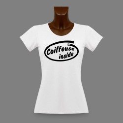 Frauen slim T-shirt - Coiffeuse Inside