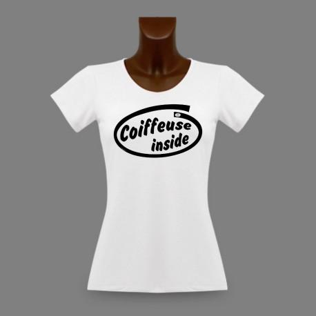 T-Shirt humoristique dame slim - Coiffeuse Inside