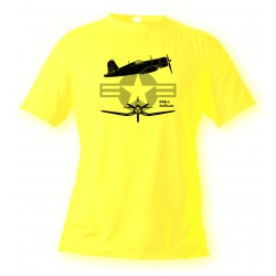 T-Shirt Kampfflugzeug - F4U-1 Corsair - für Frauen oder Herren, Safety Yellow