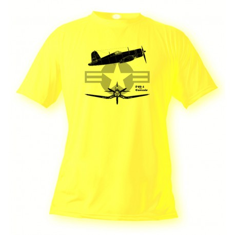 T-Shirt aviation -  F4U-1 Corsairr - pour femme ou homme, Safety Yellow
