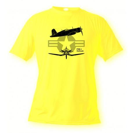 Women's or Men's Fighter Aircraft T-shirt  - F4U-1 Corsair, Safety Yellow