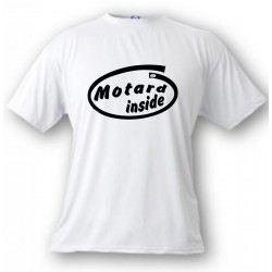 Uomo Funny T-Shirt - Motard Inside, White
