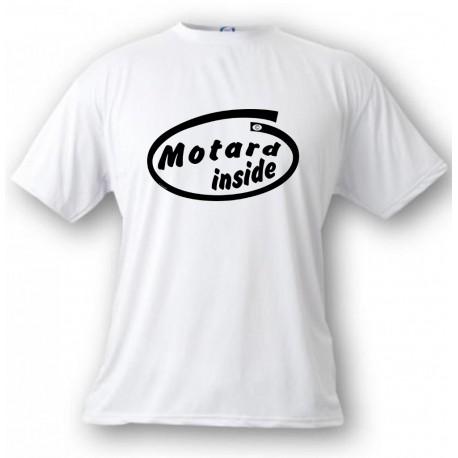 Men's Funny T-Shirt - Motard Inside, White