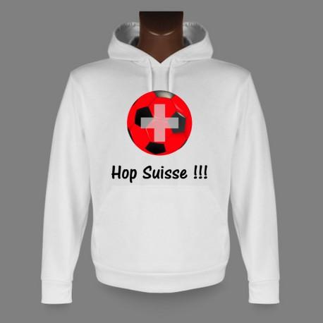 Sweatshirt blanc à capuche football - Hop Suisse