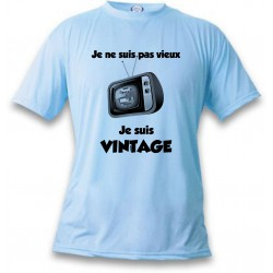 Uomo Funny T-Shirt - Vintage Televisione, Blizzard Blue