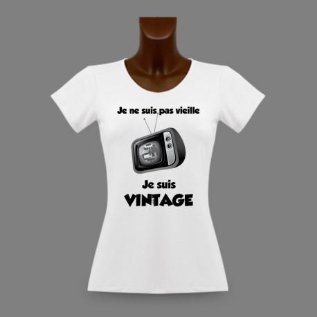 T-Shirt slim dame humoristique - Vintage Télévision