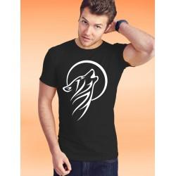 Baumwolle T-Shirt - Tribal Moon Wolf, 36-Schwarz
