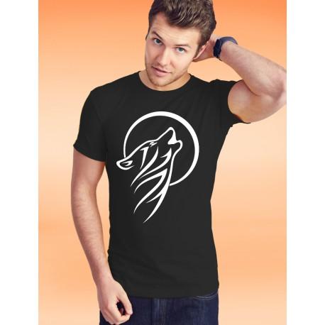 T-Shirt coton - Tribal Moon Wolf, 36-Noir