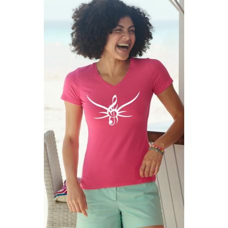 T-shirt coton Dame - Clé de Sol tribal, 57-Fuchsia