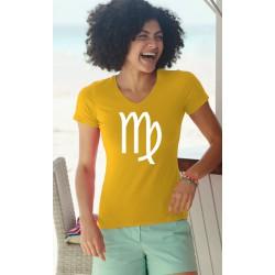 Frauen Baumwolle T-Shirt - Sternbild Jungfrau, 34-Sonnenblumengelb